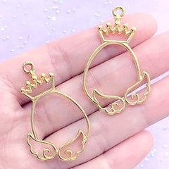 Kawaii Oval Frame with Angel Wings and Crown Open Bezel | Magical Easter Egg Deco Frame for UV Resin (2 pcs / Gold / 26mm x 43mm)