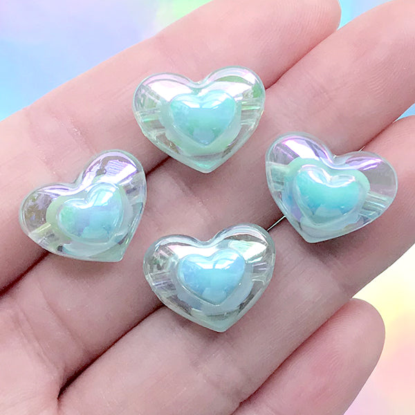 Kawaii Heart Beads | Iridescent Chunky Bead in Iridescent Color | Acrylic Jewelry Supplies (AB Blue / 4 pcs / 17mm x 13mm)