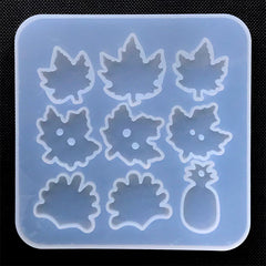 Maple Leaf Button Silicone Mold (9 Cavity) | Pineapple Charm Mold | Epoxy Resin Art | UV Resin Craft Supplies