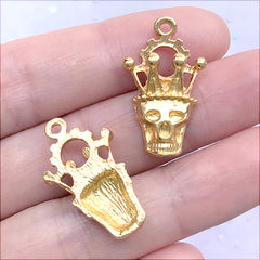 Skull with Crown Charm | Kawaii Goth Jewellery DIY | Halloween Craft Supplies (3 pcs / Gold / 15mm x 26mm)