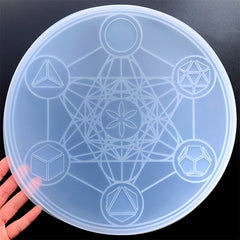 Metatron Cube Sacred Geometry Crystal Grid Silicone Mold for Resin Art | Large Magic Circle Mould | Chakras Healing Grid DIY (290mm)