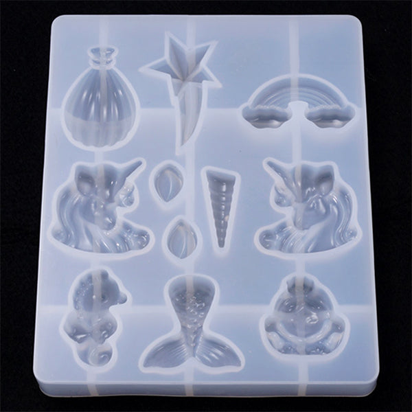 Kawaii Fairytale Silicone Mold Assortment (11 Cavity) | Unicorn Mermaid Rainbow Shooting Star Seahorse Cabochon DIY | Resin Art Supplies