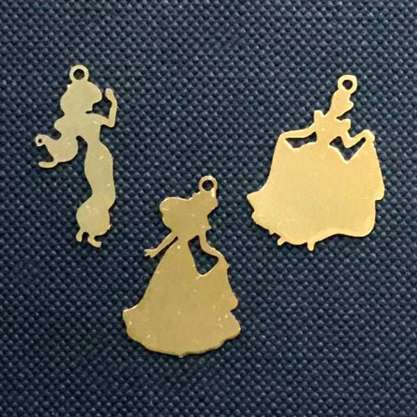 Small Princess Silhouette Charm | Resin Inclusions | Fairytale Embellishment for Kawaii UV Resin Jewelry Making (3 pcs)