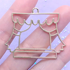 Window Curtain Deco Frame for UV Resin Filling | Kawaii Open Bezel Charm | Resin Jewelry Making (1 piece / Gold / 45mm x 37mm)