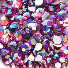 Aurora Borealis Glass Rhinestones from SS4 to SS20 | Round Flatback Rhinestones | Sparkle Nail Designs (AB Magenta Purple / SS4 to SS20 / Around 300 pcs)