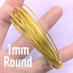 1mm Round Wire for Open Bezel DIY | Make Your Own Deco Frame | UV Resin Jewelry Supplies (4 Meters / Gold)