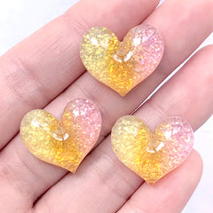 Heart Decoden Cabochons with Glitter | Kawaii Glittery Cabochon | Phone Case Decoration (Yellow Pink / 3 pcs / 20mm x 18mm)