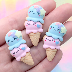 Double Scoop Ice Cream Resin Cabochon | Kawaii Sweets Deco | Decoden Phone Case Making (3 pcs / 18mm x 34mm)