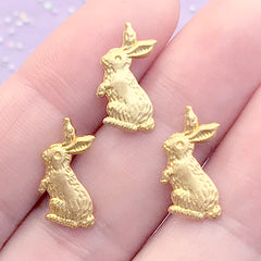 Easter Bunny Embellishments for UV Resin Art | Animal Rabbit Floating Charm | Kawaii Resin Inclusions (3 pcs / Gold / 10mm x 15mm)
