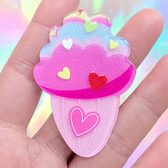 Ice Cream Acrylic Cabochon with Glitter | Kawaii Decoden Embellishment | Sweet Deco | Kid Brooch DIY (1 piece / 40mm x 58mm)