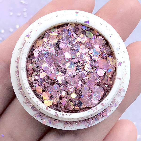 Holographic Rainbow Hexagon Confetti Glitter in Various Sizes | Iridescent Sprinkles | Kawaii Resin Crafts (AB Pink)
