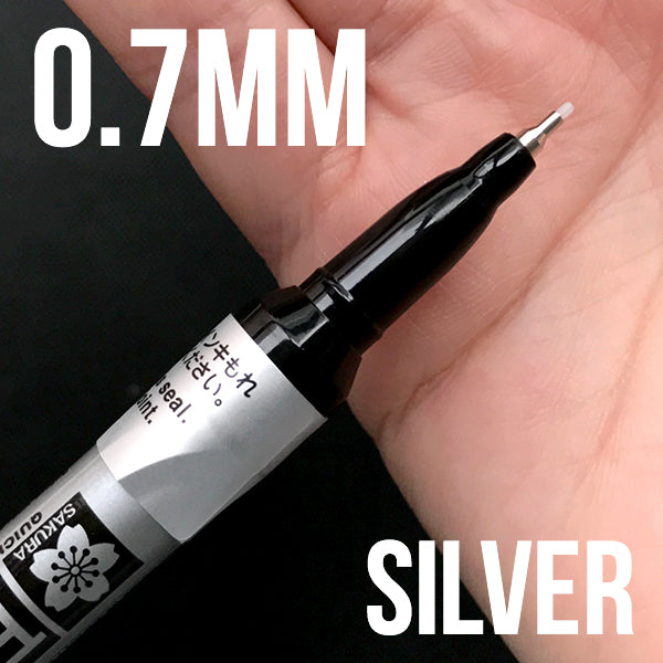 0.7mm Extra Fine Point Sakura Pen-Touch Permanent Paint Marker | Metallic Silver Oil Based Marker (0.7mm / Silver)