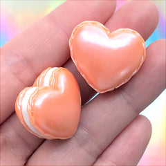 Heart Macaron Cabochon in Pearlescent Color | Miniature Macaroon | Kawaii Decoden Cabochon | Sweets Deco (2 pcs / Orange / 25mm x 22mm)