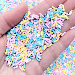 Polymer Clay Toppings for Fake Sweet Jewelry DIY | Chocolate Sprinkles for Faux Dessert Making | Sweets Deco (Blue Pink Yellow White Mix / 5 grams)