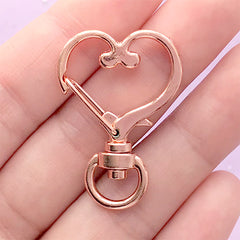 Heart Lanyard Hook Clasp with Swivel Ring | Kawaii Snap Clip | Lobster Claw | Cute Jewellery Supplies (1 piece / Rose Gold / 24mm x 35mm)