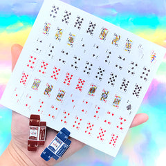 Miniature Playing Cards and Tuck Boxes | Dollhouse Craft Supplies | Alice and Wonderland Jewelry DIY
