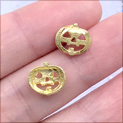 Mini Halloween Pumpkin Metal Embellishments | Resin Shaker Bits | Resin Inclusions | UV Resin Craft Supplies (4 pcs / Gold / 10mm x 9mm)