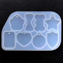 Assorted Tag Silicone Mold (8 Cavity) | Star Heart Round Bow Bone Rectangle Paw Charm Mold | Resin Pendant Making
