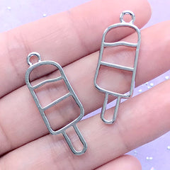 Popsicle Open Bezel Charm | Kawaii UV Resin Jewelry Supplies | Ice Pop Deco Frame for UV Resin Filling (2 pcs / Silver / 12mm x 34mm)