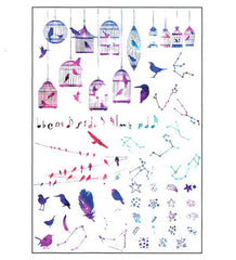 Bird Cage and Star Clear Film Sheet in Galaxy Gradient | Constellation Embellishments | Resin Craft Supplies