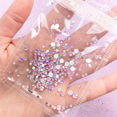 AB Pink Glass Rhinestones | Aurora Borealis Rhinestones | Round Flatback Faceted Crystal | Kawaii Craft Supplies (AB Light Pink / SS4 to SS20 / Around 300 pcs)