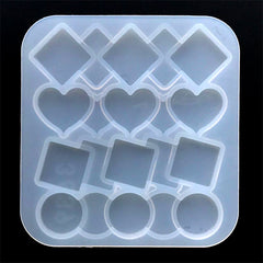 Kawaii Geometric Hair Clip Silicone Mold (Square Heart Circle / 4 Cavity) | Make Your Own Resin Hair Accessories