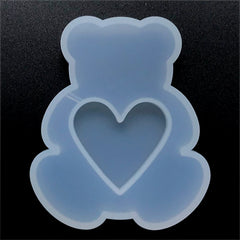 Bear with Heart Resin Shaker Charm Silicone Mold | Kawaii Cabochon Making | Resin Art Supplies (60mm x 72mm)