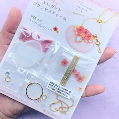 UV Resin Jewelry Craft Kit | Miniature Handbag Charm Making | Flower Bag Pendant DIY | Floral Resin Jewellery (Red)