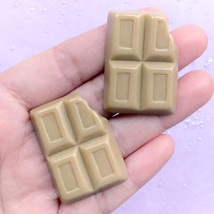 Bitten Chocolate Bar Cabochon | Faux Chocolate Embellishments | Kawaii Phone Case Decoden | Sweet Deco (2 pcs / Light Brown / 27mm x 37mm)