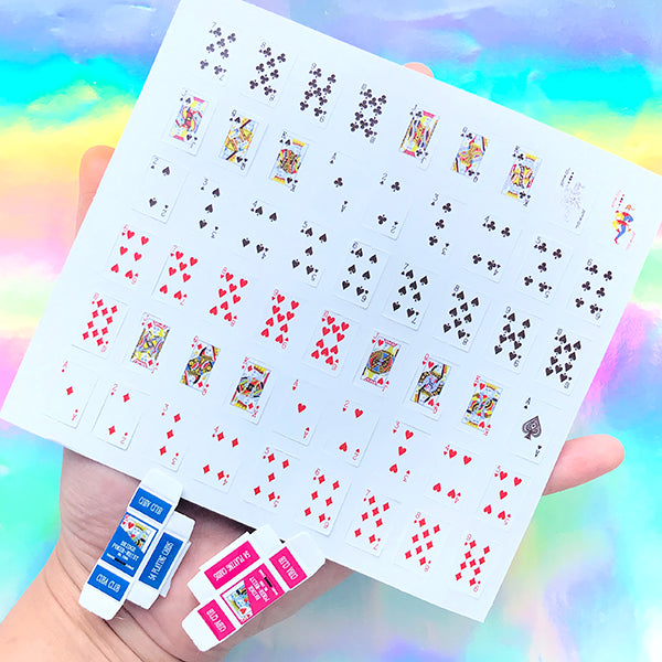 Dollhouse Playing Cards and Tuck Boxes | Miniature Craft Supplies | Alice and Wonderland Jewellery Making