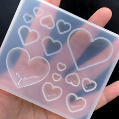 Puffy Heart and Flat Heart Silicone Mold Assortment (14 Cavity) | Clear Mould for UV Resin | Kawaii Epoxy Resin Art Supplies