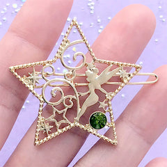 Fairy and Star Open Back Bezel Hair Clip | Kawaii Fairytale Deco Frame | UV Resin Jewelry Supplies (1 piece / Gold / 41mm x 39mm)