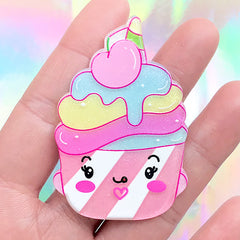 Kawaii Face Cupcake Flatback Cabochon | Acrylic Decoden Embellishment | Toddler Jewelry DIY (1 piece / 38mm x 58mm)