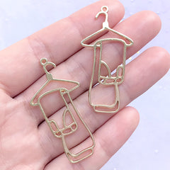 Trousers and Clothes Hanger Open Bezel Charm | Jeans Deco Frame for UV Resin Filling | Pants Pendant (2 pcs / Gold / 22mm x 45mm)