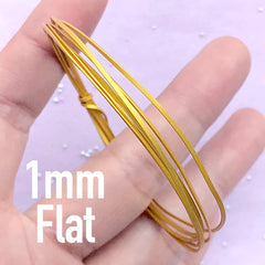 1mm Flat Wire for Open Bezel Making | DIY Your Own Deco Frame | UV Resin Jewellery Supplies (1 Meter / Gold)