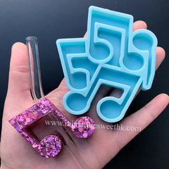 Music Note Straw Topper Silicone Mold | Straw Attachment DIY | Party Decoration | Epoxy Resin Craft (50mm x 39mm)