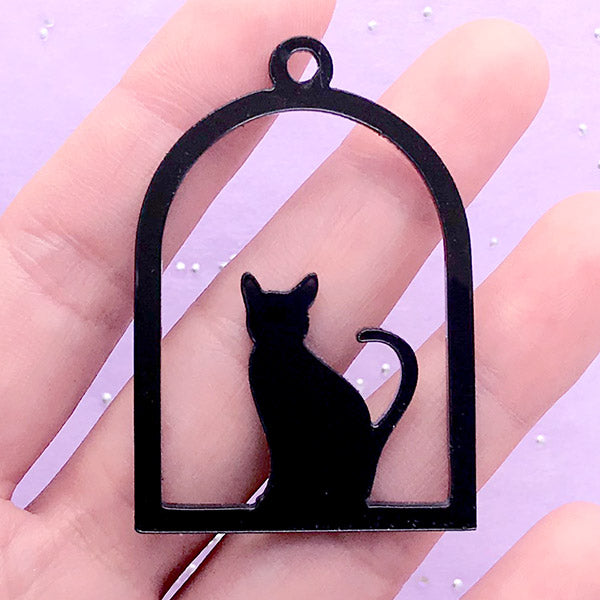 Cat and Bird Cage Open Bezel Pendant | Acrylic Deco Frame for UV Resin Filling | Kawaii Resin Crafts (1 piece / Black / 34mm x 49mm / 2 Sided)