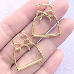 Pouch Bag with Ribbon Open Bezel Charm | Cute Deco Frame for UV Resin Filling | Kawaii Jewelry Supplies (2 pcs / Gold / 23mm x 27mm)