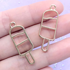 Ice Pop Open Bezel Pendant | Popsicle Deco Frame for UV Resin Filling | Kawaii Jewelry Making (2 pcs / Gold / 12mm x 34mm)