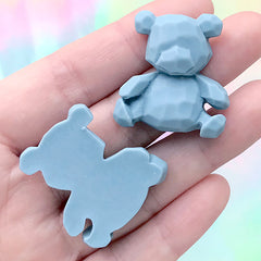 Faceted Bear Cabochon | Animal Decoden Piece | Kawaii Phone Case Decoration (2 pcs / Blue / 28mm x 30mm)