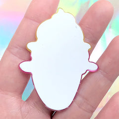 Acrylic Ice Cream Flatback Cabochon | Glittery Decoden Embellishment | Sweets Deco | Kawaii Brooches DIY (1 piece / 43mm x 56mm)