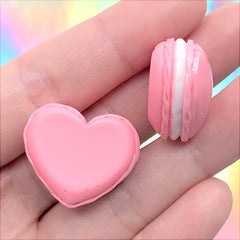 Pearlescent Macaron Cabochon in Heart Shape | Kawaii Macaroon Embellishment | Decoden Supplies | Sweet Deco (2 pcs / Dark Pink / 25mm x 22mm)