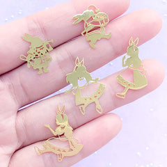 Alice in Wonderland Metal Embellishments for UV Resin Craft | Fairytale Resin Inclusions | Kawaii Craft Supplies (5 pcs)