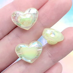 Acrylic Heart Beads in Iridescent Colour | Chunky Jewelry DIY | Kawaii Bead Supplies (AB Yellow / 4 pcs / 17mm x 13mm)