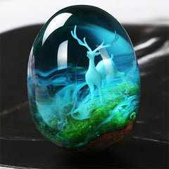 Deer with Horn Resin Inclusion | Forest Animal Embellishments for Resin Art | Fairy Tale Terrarium DIY (1 piece / 15mm x 22mm)