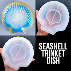 Seashell Trinket Dish Silicone Mold | Scallop Shell Tray Mould | Jewellery Plate Making | Marine Decor | Resin Craft Supplies (140mm x 145mm)