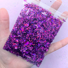 Aurora Borealis Irregular Glitter Flakes | Iridescent Confetti | Holographic Sprinkles | Filling Materials for Resin Craft | Nail Art Supplies (AB Dark Purple / 10g)