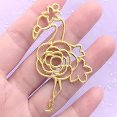 Flower Flamingo Open Bezel | Bird Deco Frame for UV Resin Filling | Kawaii Resin Jewelry DIY | Animal Charm (1 piece / Gold / 38mm x 64mm)