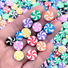 Polymer Clay Peppermint Candy Cabochon Assortment | Fimo Food Embellishments | Faux Sweet Deco (10 pcs by Random / 12mm / Thick Type)