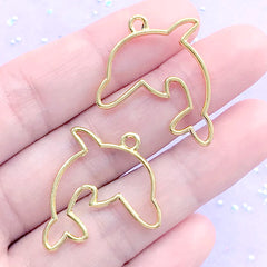 DEFECT Dolphin Open Bezel Pendant | Kawaii Marine Life Deco Frame for UV Resin Filling | Fish Charm (2 pcs / Gold / 25mm x 24mm)